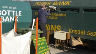 Paperbank being used at a Welsh recycling centre
