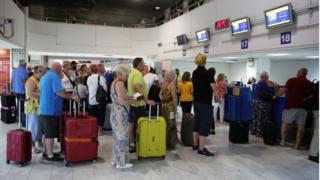 Passengers at Heraklion airport, Crete