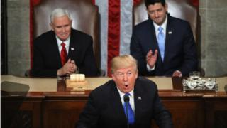 SOTU 2018. Trump with U.S. Vice President Mike Pence (L) and Speaker of the House U.S. Rep. Paul Ryan (R)