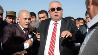 Afghan Vice President Abdul Rashid Dostum arrives at Hamid Karzai International Airport in Kabul.