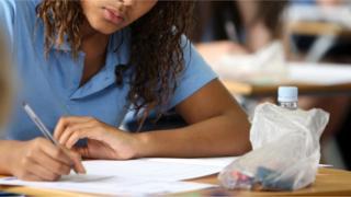 Teenager in exam