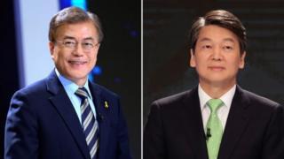 Moon Jae-in (trái) và ông Ahn Cheol-soo là hai đối thủ chính trong cuộc bầu cử sắp tới ở Nam Hàn