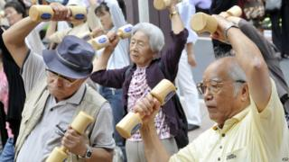 Elderly people exercising on Respect for the Aged day in Japan