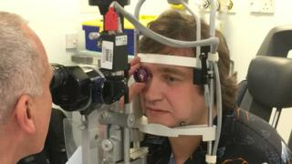 Matthew having eye exam