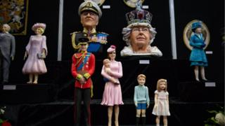 Cakes depicting the Royal Family on display during Cake International 2019 at the NEC, Birmingham