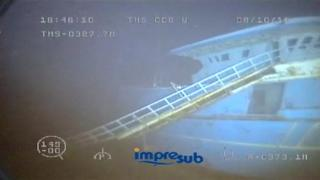 A still from underwater footage of the sunk vessel