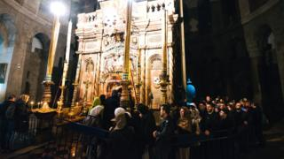 Orthodox Christians outside a church