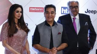 "Indian actors Sridevi (L), Kamal Haasan (C) and producer Boney Kapoor (R) pose for a picture as they attend the ""HT India""s Most Stylish Awards 2018"" in Mumbai late on January 24, 2018."