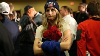 Trump supporter looking glum
