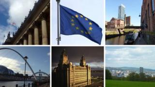 Leeds, EU flag, Manchester, Newcastle, Liverpool, Sheffield
