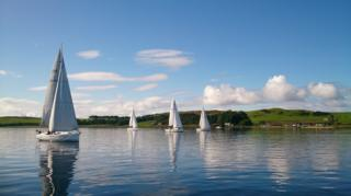Yachts taking part in annual Jeanneau Fun Race from Largs to Colintraive.