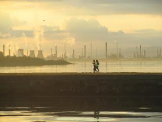 Two runners at Grangemouth, taken from Bo'ness harbour.