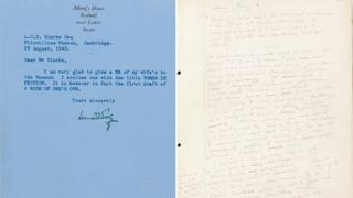 Letter from Leonard Woolf (left) and manuscript page from A Room of One's Own (right)