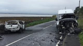 Scene of crash on Portaferry Road, Newtownards