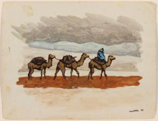 Rider and Three Camels, Kyrgyzstan, 1942