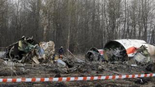 Wreckage of a Polish government plane that crashed near Smolensk, Russia. Photo: 11 April 2010