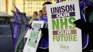 NHS health workers on the picket line