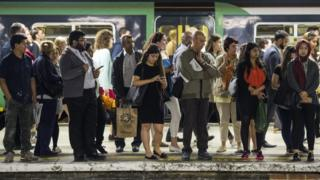 Commuters at a railway station