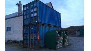 Alderney bowling alleys in shipping containers