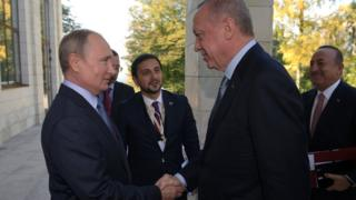 Russian President Vladimir Putin shakes hands with Turkish President Recep Tayyip Erdogan in Sochi, Russia (22 October 2019)