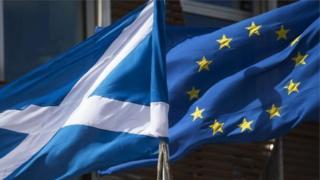 Scotland and EU flags