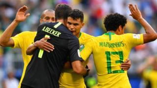 Brazil celebrate against Mexico