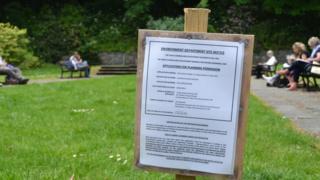 Planning application sign in the Sunken Gardens