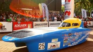 "NITech Solar Racing vehicle Horizon 17"" from Japan leaving the start line in Darwin, Australia."