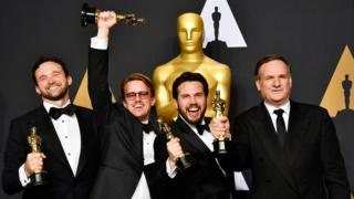 Visual effects artists Dan Lemmon, Andrew R. Jones, Adam Valdez and Robert Legato, winners of Best Visual Effects for 'The Jungle Book' pose in the press room during the 89th Annual Academy Awards at Hollywood Highland Center on February 26, 2017 in Hollywood, California.