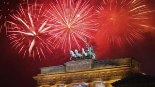 "Fireworks explode over the Quadriga statue atop the Brandenburg Gate on New Year""s Eve on January 1, 2012 in Berlin, Germany."