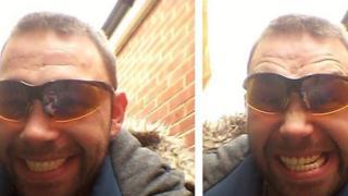Selfies of a man