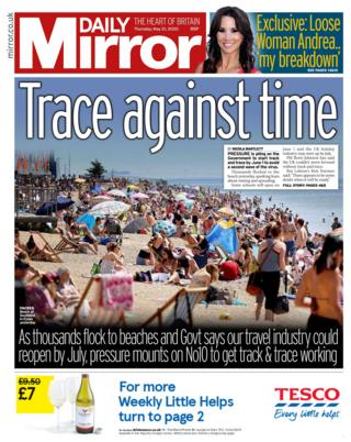 Daily Mirror front page 21/05/20