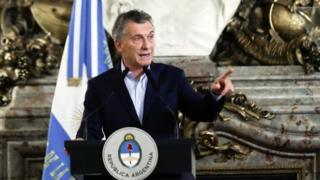 The President of Argentina Mauricio Macri in Buenos Aires, Argentina, 29 January 2018.
