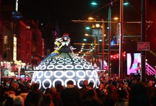 Members of the Compagnie Transe Express on Princess Street during the Hogmanay New Year celebrations in Edinburgh