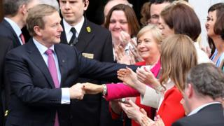 Enda Kenny was congratulated by his Fine Gael party colleagues after his re-election