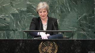 Theresa May speaking at the UN General Assembly