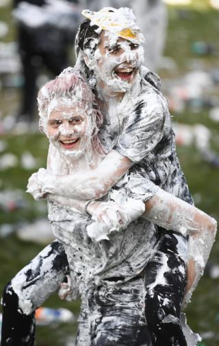 Two students in foam fight