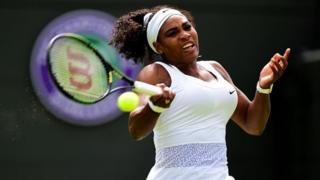 Women's champion Serena Williams in action at Wimbledon