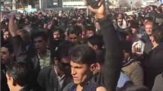 Iranians protest against high prices in the city of Mashhad on 28 December 2017