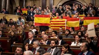 Popular Party members of the Catalan regional parliament hold Spanish flags (9 Nov)