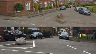 Chapel Hill before and after the chevrons were painted