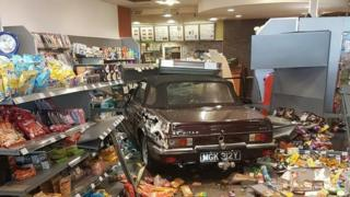 Sports car in Subway store