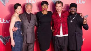 Emma Willis with The Voice 2017 coaches