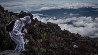 A climber on Mount Fiji
