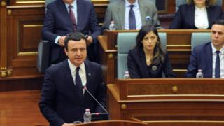 Prime Minister of Kosovo Albin Kurti delivers a speech during a parliament session in Pristina, Kosovo February 3, 2020.