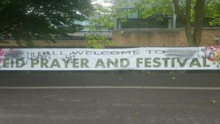 Eid celebrations banner vandalised with racist graffiti at Victoria Park