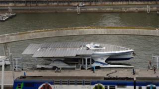 The world's largest solar boat is currently moored on the Seine