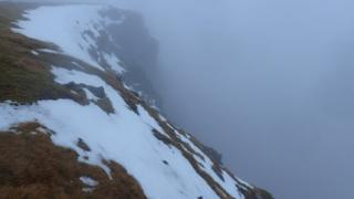Snow at the top of of Spikes Gully, Aonach Mor