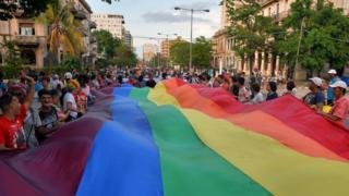 Gay rights parade in Havana, May 2018