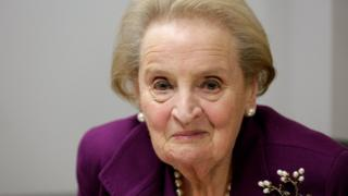 Former U.S. Secretary of State Madeleine Albright speaks before an interview in Washington, November 28, 2016